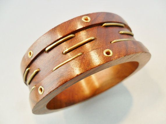 0aca8ea6f4c Vintage Wood Bangle Bracelet Large Chunky Retro Gold by KathiJanes ...