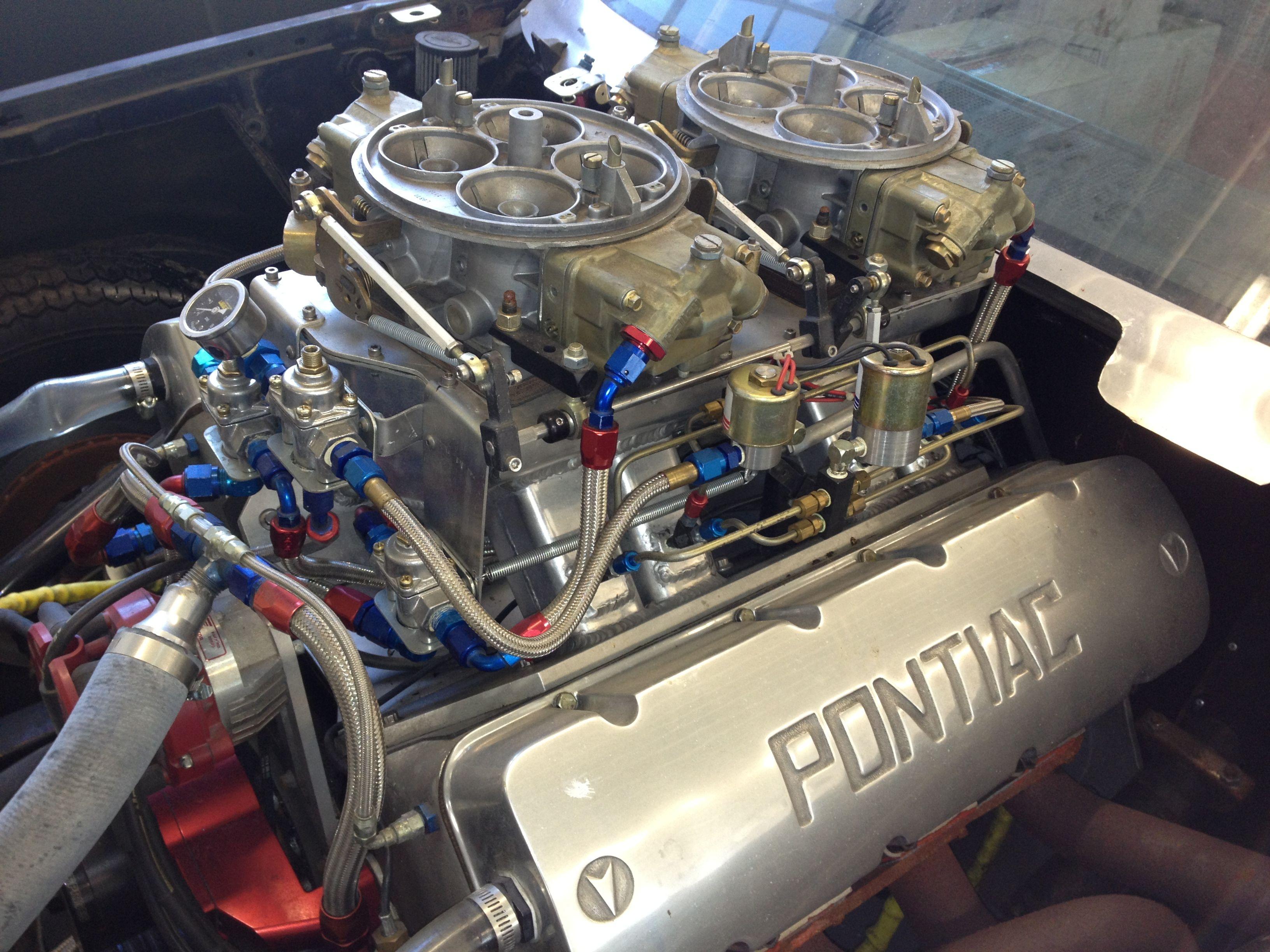 G-body Malibu big block Chevy engine with the Pontiac 427 pro stock
