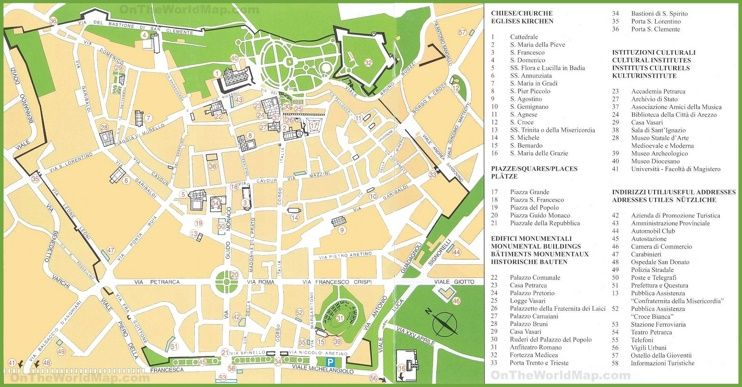 Arezzo tourist attractions map Maps Pinterest Italy and City