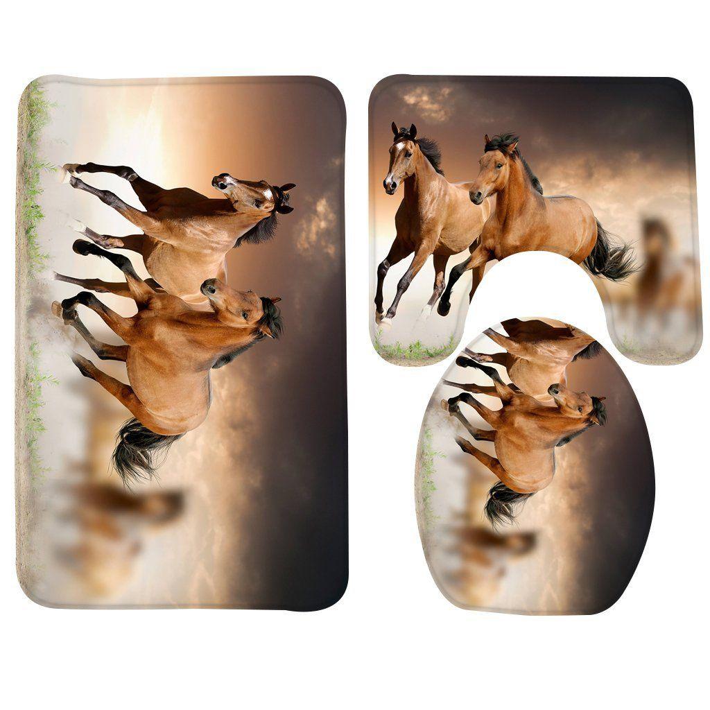 Wondertify Bath Mat,Horse,Running Horses Bathroom Carpet Rug,Non Slip 3  Piece Bathroom Mat Set    Read More At The Image Link.