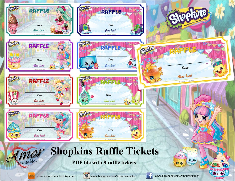 Shopkins Raffle Tickets Printable Raffle Tickets Party Etsy Shopkins Party Shopkins Printables Raffle Tickets Printable