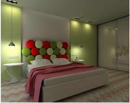 Decoracion Dormitorio Juvenil Verde blanco y rojo HOGAR
