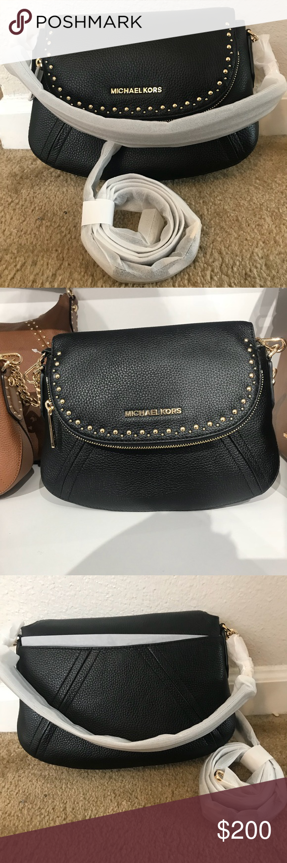 82fd495c8b76 Michael Kors Aria Studded Shoulder Bag/Crossbody AUTHENTIC Michael Kors Aria  Medium Convertible Studded Shoulder