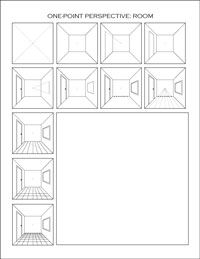 one-point perspective worksheet: room
