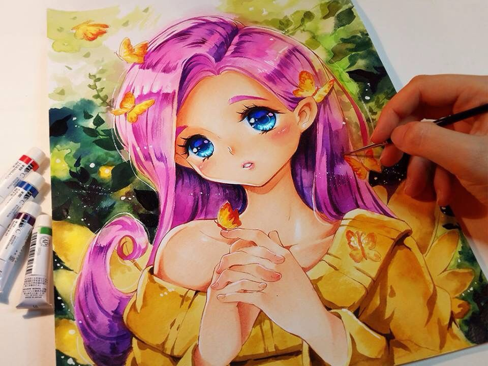 Fluttershy (With images) Anime drawings, Drawings