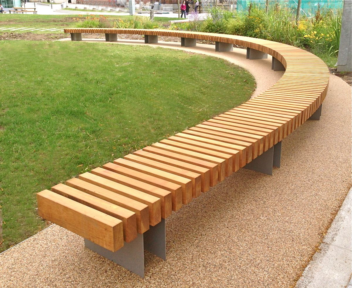 Clifton curved seat woodscape street furniture timber for Landscape timber bench
