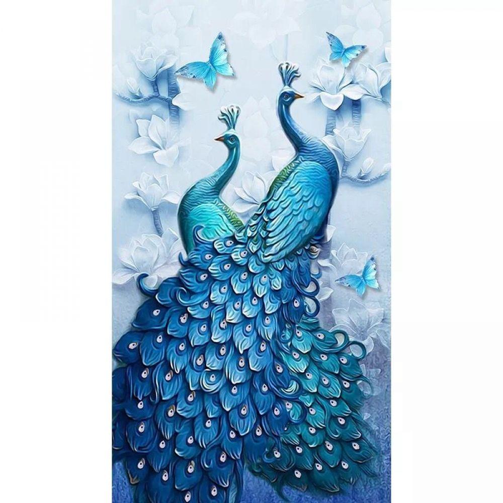 Two Blue Peacocks Diamond Painting Diabroidery Peacock Wall Art Clay Wall Art Peacock Painting