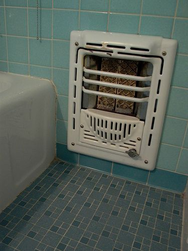 Vintage Bathroom Tile And Heater. OMG This Is The Same Color Tile Walls And  Flooring We Had In Our Bathroom When I Was A Little Girl!