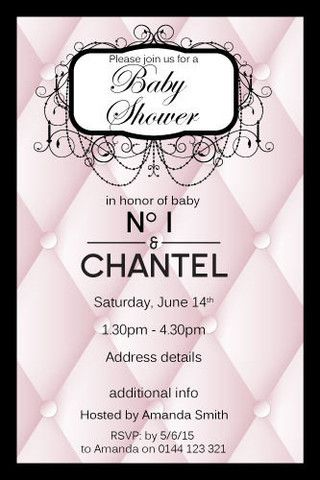 chanel baby shower - classy baby | classy, invitations baby, Baby shower invitations