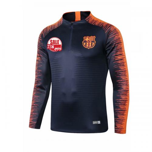 0760f73e0 FC Barcelona Soccer Training Sweatshirt 2018-19 Navy Orange Zipper Model   Goal63786 Messi Football Kits on Goaljerseyshop.com