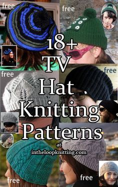 Knitting Patterns for TV Inspired Hats  Patterns were inspired by hats worn by characters in tv shows including Once Upon a Time, Castle, Bones, Downton Abbey, Breaking Bad, Sons of Anarchy and more. Most patterns are free