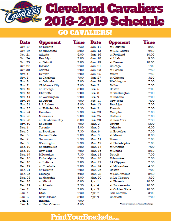 graphic regarding Cleveland Cavaliers Printable Schedule called Printable 2018-2019 Cleveland Cavaliers Program Printable