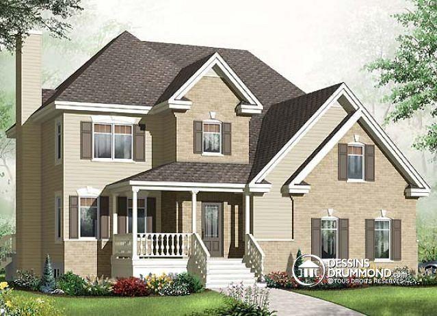W3461-V1 - Maison style américain, 4 à 5 chambres, cuisine avec