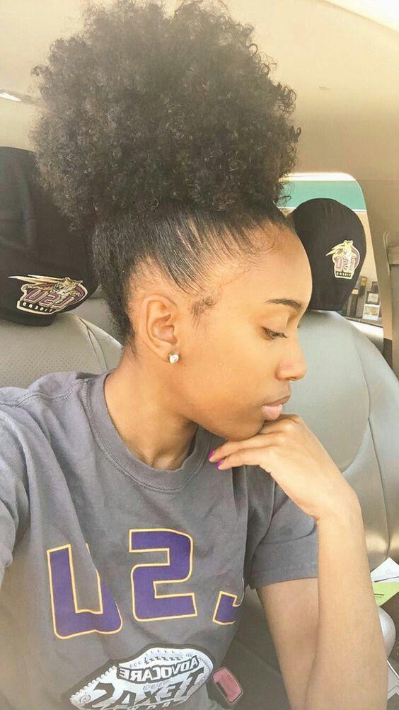 High Bun Natural Hair Hairstyles Curly Natural Bun African American Hairstyles Curly Hair Styles Hair Styles Natural Hair Styles