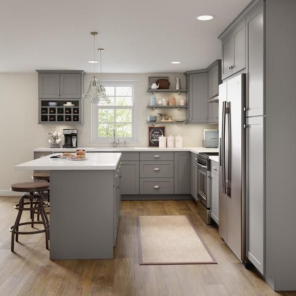 Hampton Bay Edson Shaker Assembled 36x36x12.5 in. Wall Cabinet in Gray-CM3636W-KG - The Home Depot