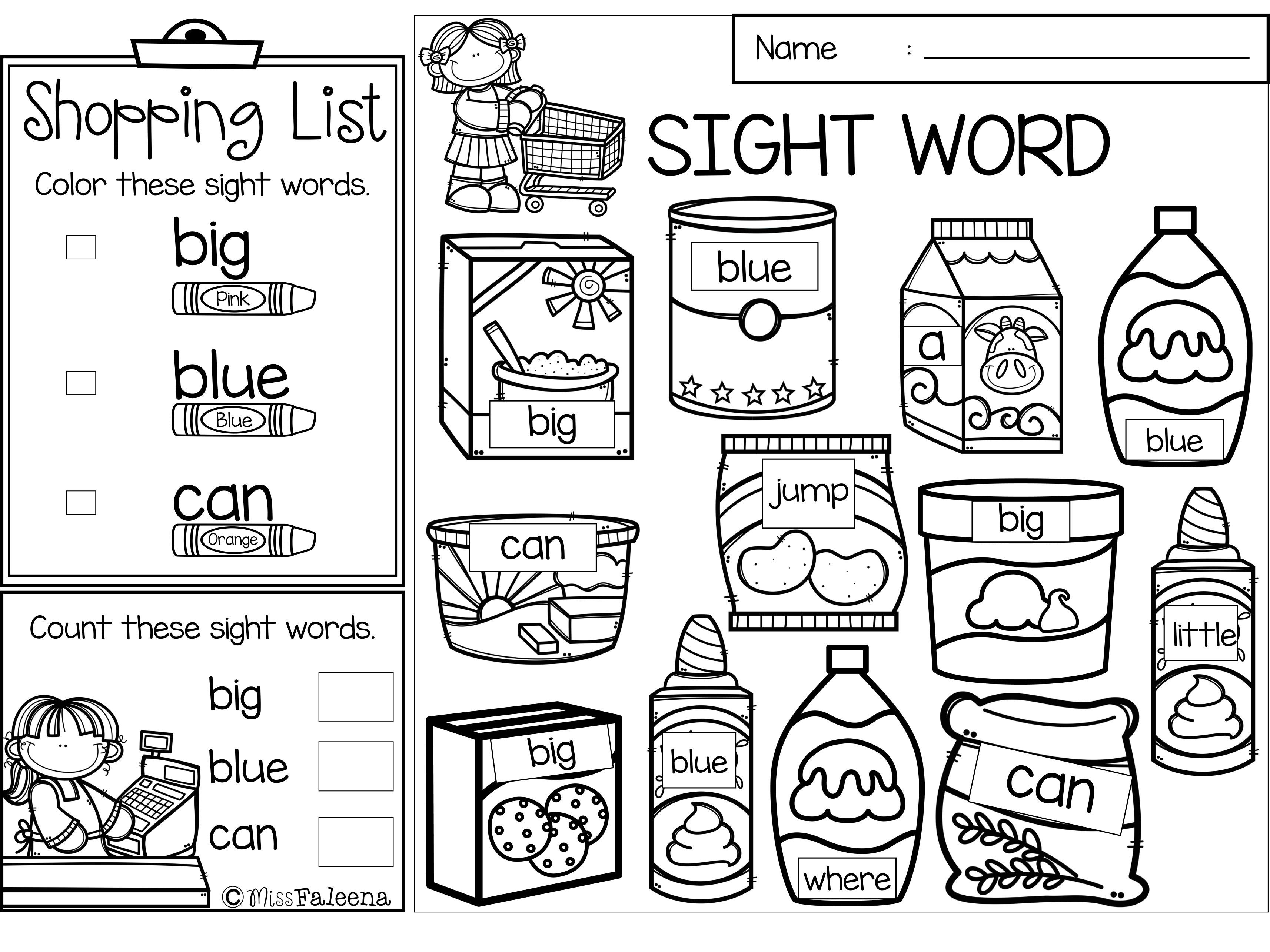 Sight Word Shop Pre Primer