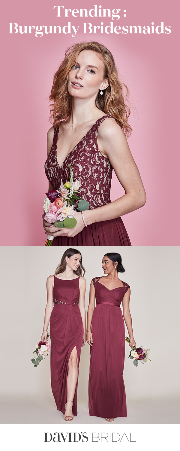 Raise your glass to wine bridesmaid dresses! This delicious burgundy ...