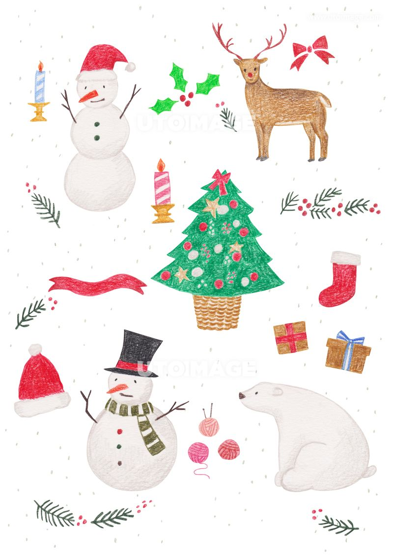 겨울 오브젝트 색연필 드로잉 09 C191106 유자디자인 일러스트 배경 백그라운드 수작업 색연필 드로잉 겨울 시즌 계절 크리스마스 성탄절 성탄 새해 신년 모양 오브젝트 장식 데코 데코레이션 트리 크리스마스 카드 크리스마스