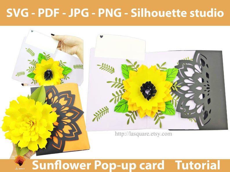 Sunflower Greeting Card 5x7 Flower Pop Up Card Etsy Greeting Card Template Pop Up Card Templates Flower Cards