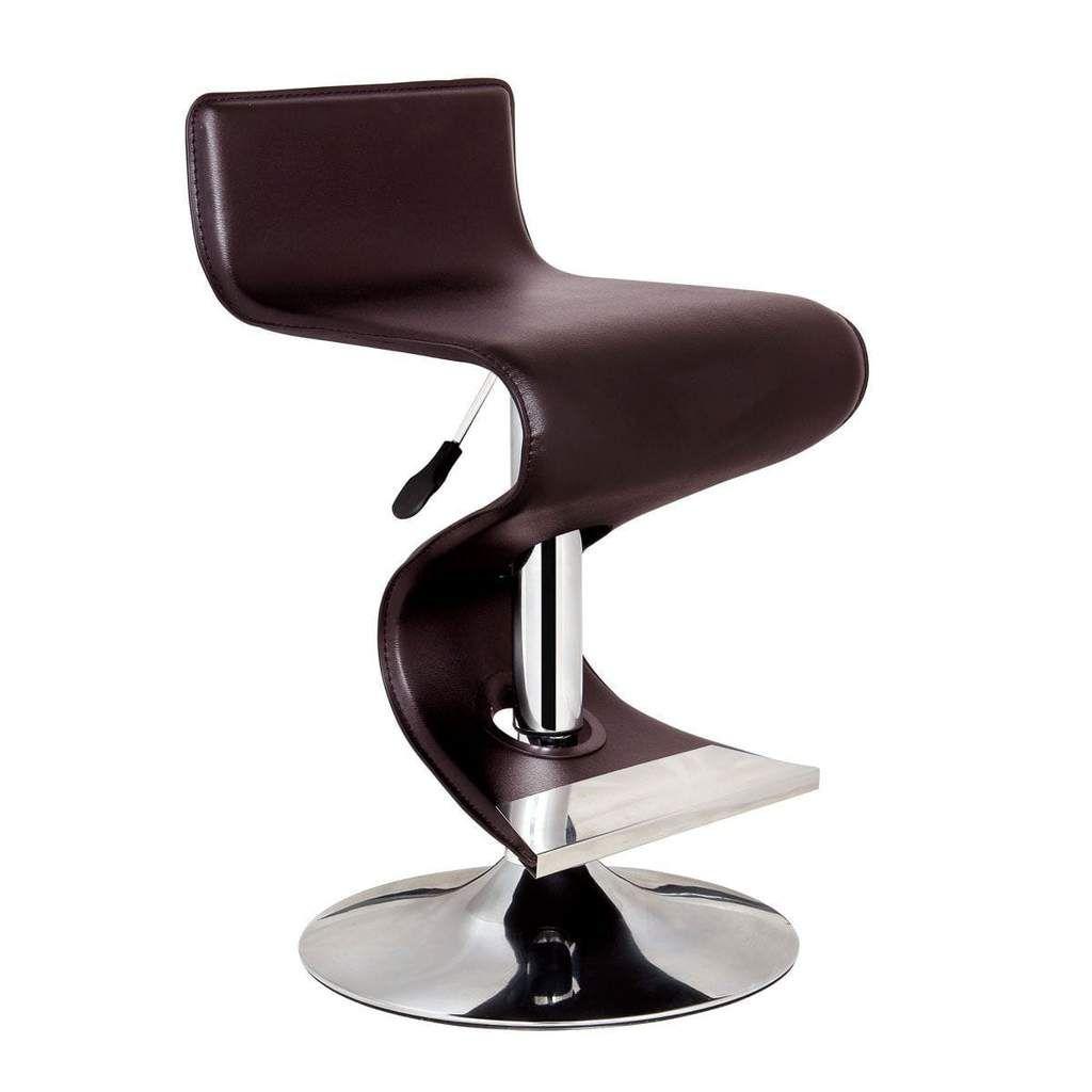 Bromi Design King Brown Adjustable Height Modern Bar Stool ...