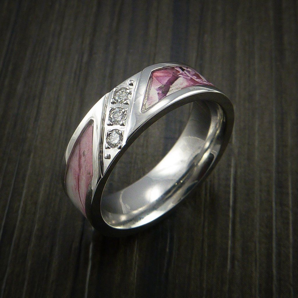 Cobalt Chrome Ring with Segmented Camo Inlay and Diamonds