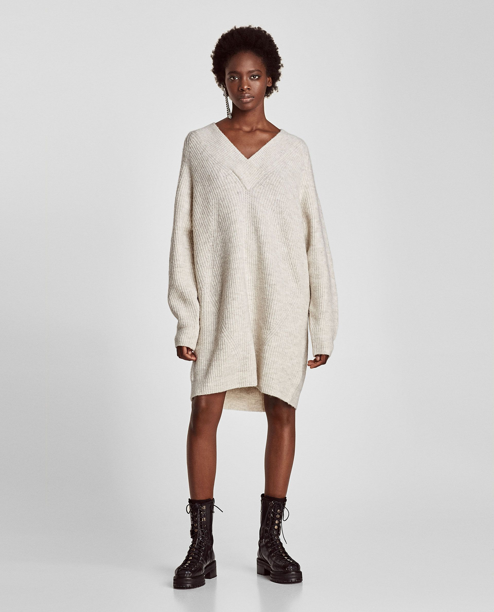 3669da6ee5 Image 1 of OVERSIZED SWEATER DRESS from Zara Dresses For Apple Shape