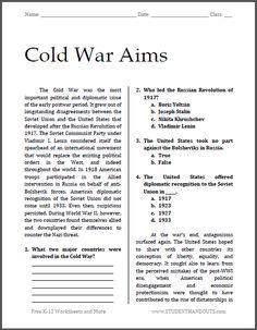 Cold War Aims Free Printable Worksheet For High School American