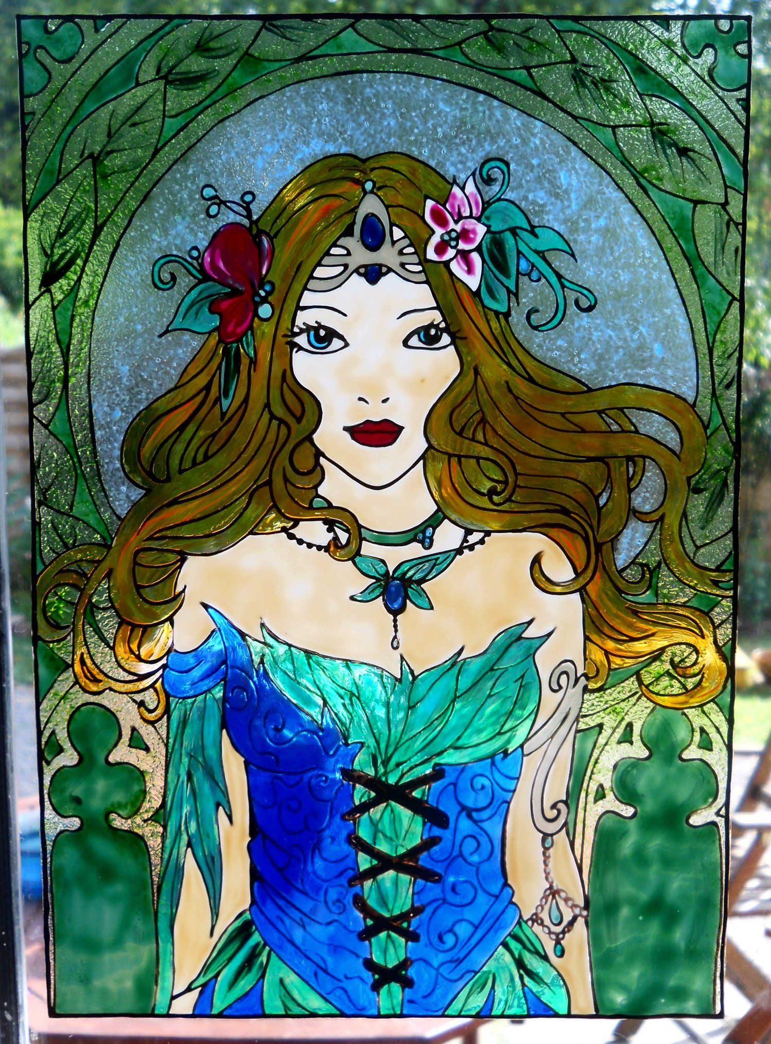 Lady Spring Glass Painting