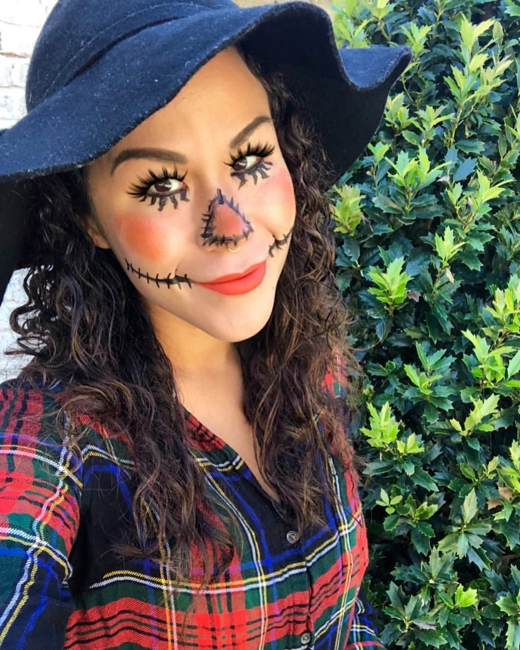 Easy DIY Scarecrow makeup and costume for Halloween. Great