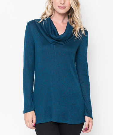 Look at this #zulilyfind! Teal Cowl Neck Tunic - Plus Too by Caralase #zulilyfinds