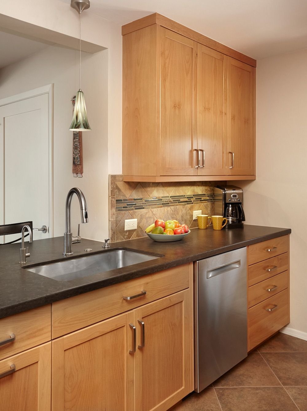 Shaker Craft Classic, Natural cherry cabinetry with black ...
