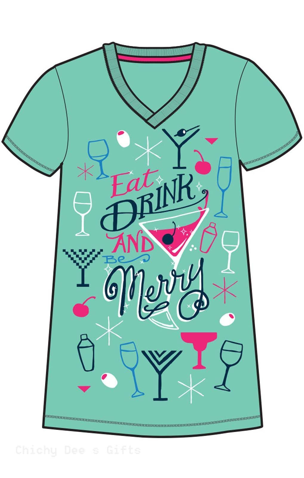 36c511db8b Hatley Women s ONE SIZE Sleepshirt EAT DRINK BE MERRY Night Shirt Christmas  PJ