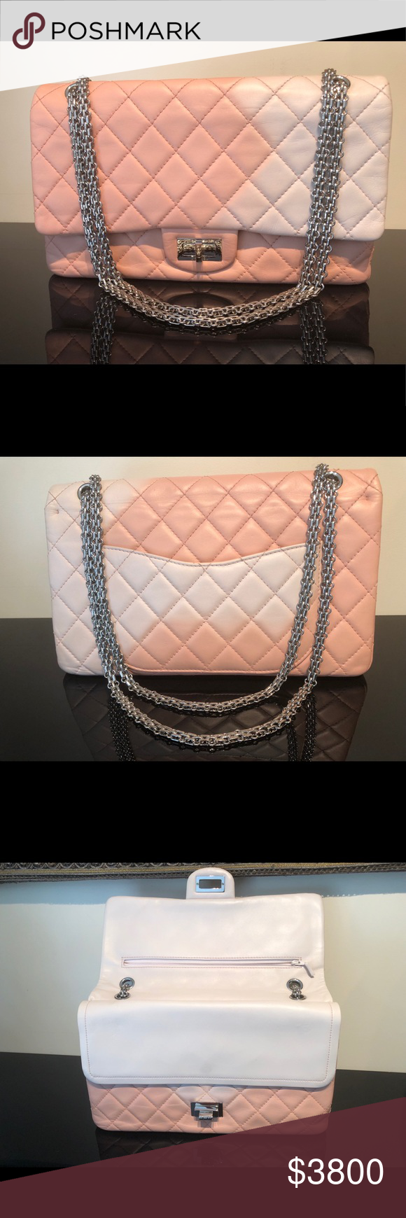 6488116cf542 NWOT CHANEL 2.55 Reissue 227 PRICE FIRM 🦄 C.H.A.N.E.L 🦄 NWOT 2.55 Reissue  227 Pink white quilted lambskin leather ombré double flap.