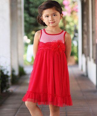 Red Mesh Babydoll Dress - Toddler & Girls