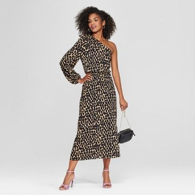Women's Leopard Print Long Sleeve One Shoulder Midi Dress