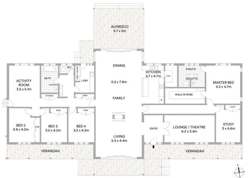 Floor Plan Friday 5 Bedrooms Open Plan Living House Layout Plans Open House Plans Barndominium Floor Plans