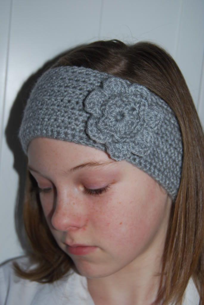 crochet headband with crochet flower CH 70; SC in each st until end ...