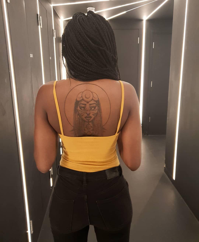 Goddess Of Sun Back Tattoo Dark Skin Tattoo Female Back Tattoo Sarah Golish Large Back Tattoo Black Dark Skin Tattoo Dark Skin Women Back Tattoo Women