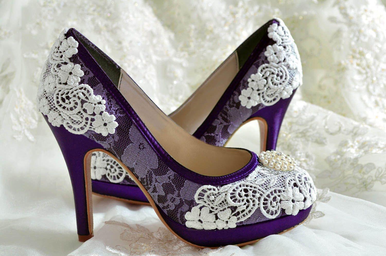 c5063d086c69 Wedding Shoes - Custom Colors 250 Choices - PBT-0382 Vintage Bridal Shoes-  Lace