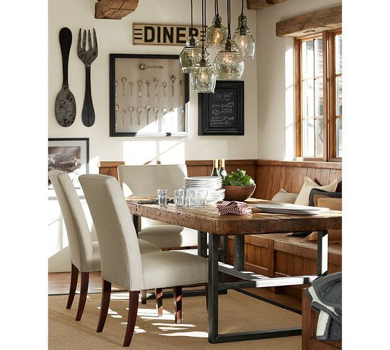 Griffin Wrought Iron & Reclaimed Wood Rectangular Dining Table Magnificent Dining Room Pottery Barn Decorating Design