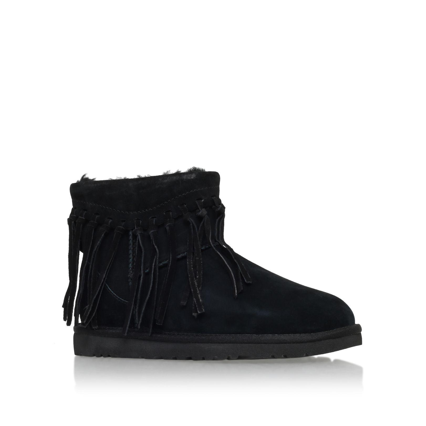 8f59333d6af UGG Wynona fringe fur lined boots, Black | Ladies Boots | Fur lined ...