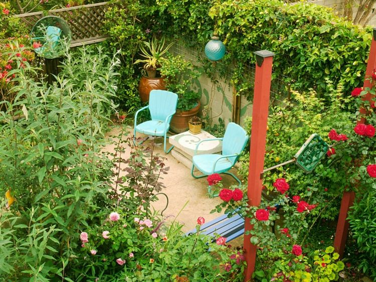 Garten-Terrasse-freiliegend-Sichtschutz-Pflanzen - kleinen garten gestalten sichtschutz