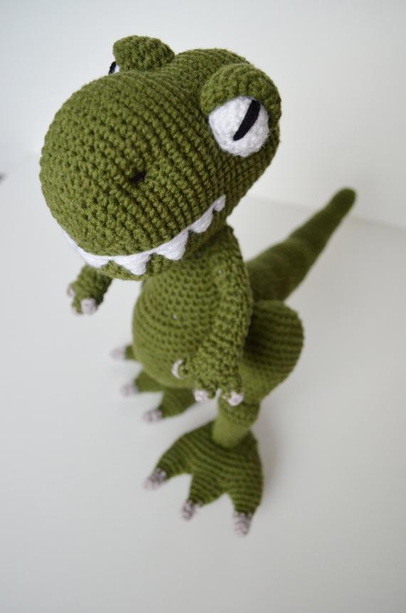 Crochet dinosaur plush toy, amigurumi dino T-Rex stuffed toy, dino boy nursery decor #crochetdinosaurpatterns