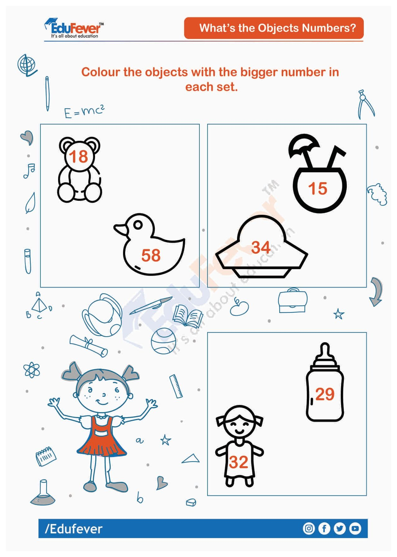 Colour Object With Bigger Number Ukg Worksheet Math Worksheet Worksheets For Kids Learning Activities Big and small numbers worksheets for