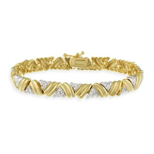 18K Gold over Sterling Silver Diamond Accent Two-Tone Large Triangle Link Bracelet SilverSpeck.com. $75.00