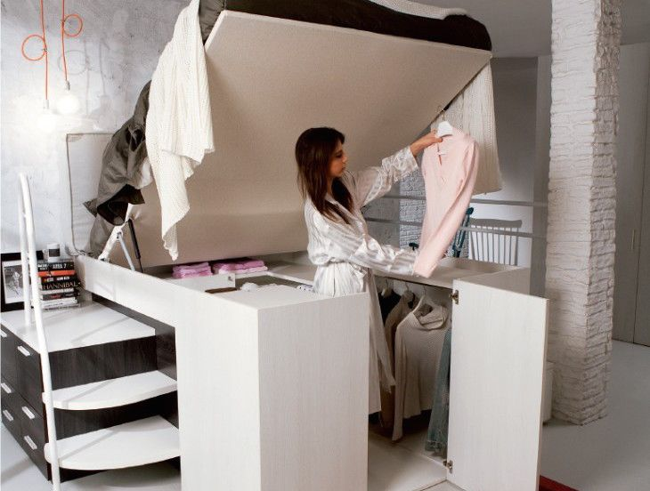 Smart space-saving bed hides a walk-in closet underneath