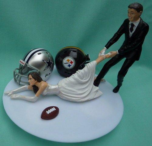 House Divided Football Team Rivalry Themed Wedding Cake Topper Garter