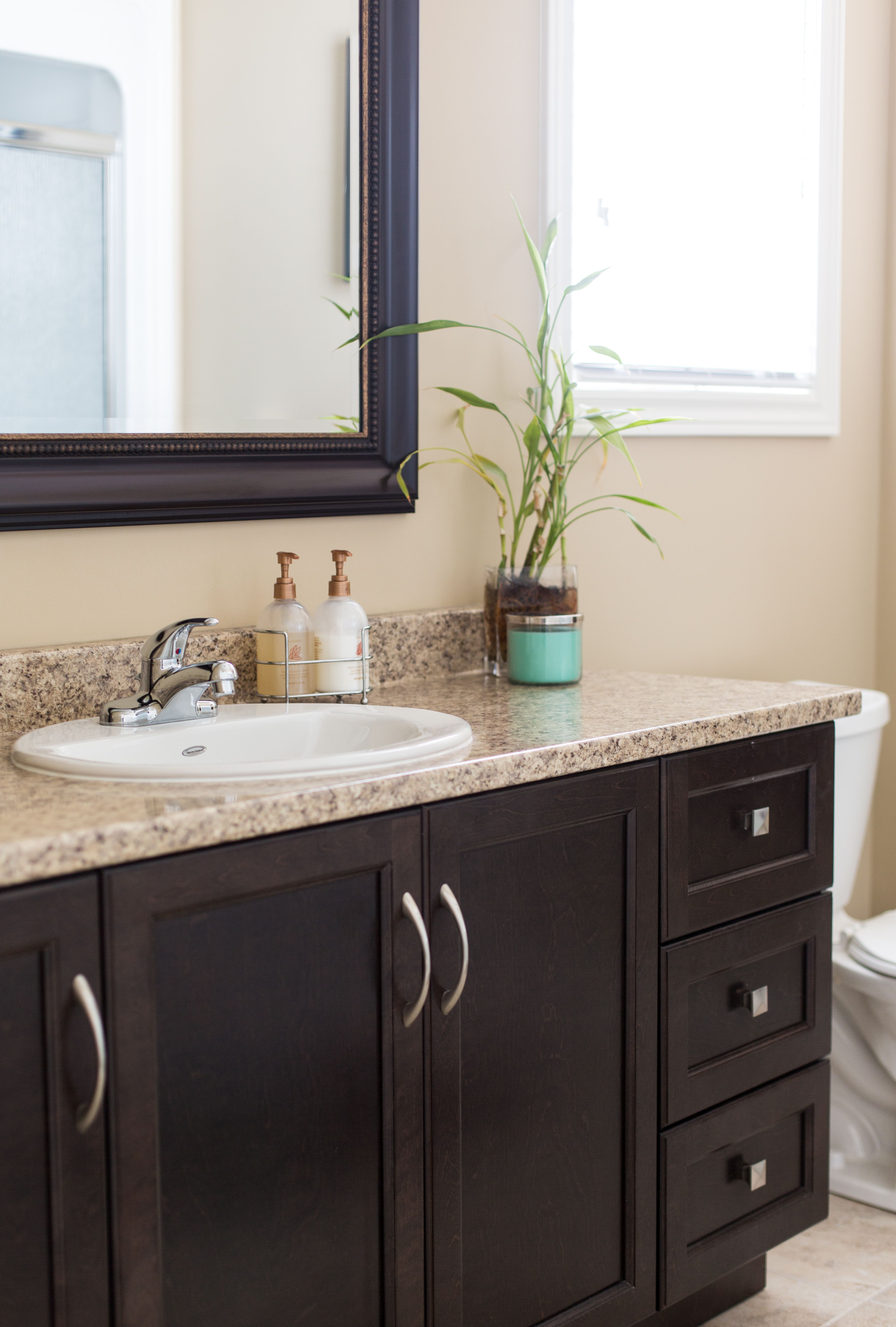 Pin By Kristy Coleman On Bathrooms Dark Brown Cabinets Brown