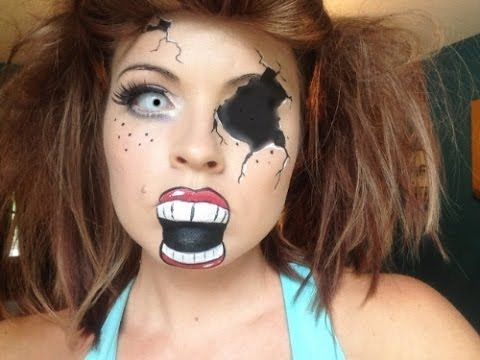 Scary Broken Doll cracked face halloween babydoll face paint ...