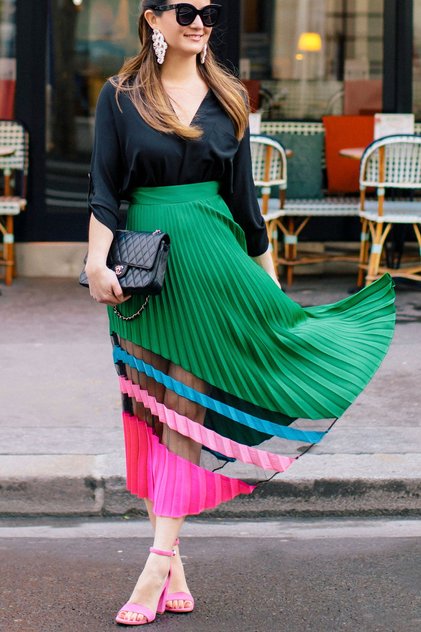 4a7b0023ffd8 Milly Emerald Pleated Maxi Skirt at a Paris Bistro | |It Girl Style ...